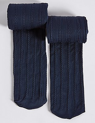 2 Pairs of Cable Opaque Tights (6-14 Years), NAVY, catlanding