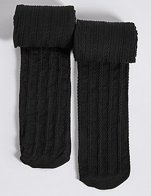 2 Pairs of Cable Opaque Tights (6-14 Years), BLACK, catlanding