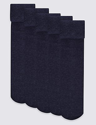 5 Pairs of Cotton Blend School Tights (4-14 Years), NAVY, catlanding