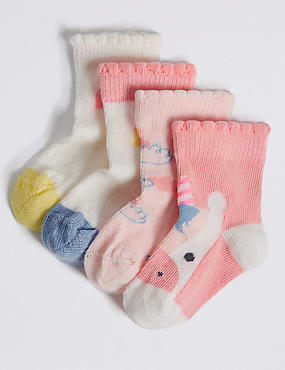 4 Pairs of Cotton Rich Socks (0-24 Months), PINK, catlanding