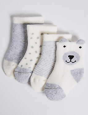 4 Pairs of Cotton Rich Socks (0-24 Months), GREY, catlanding