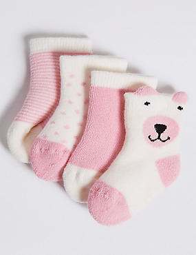 4 Pairs of Cotton Rich Socks (0-24 Months), MEDIUM PINK, catlanding