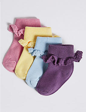 4 Pairs of Cotton Rich Socks (0-24 Months), MULTI, catlanding