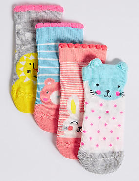 4 Pairs of Cotton Rich Socks (0-24 Months), NAVY, catlanding
