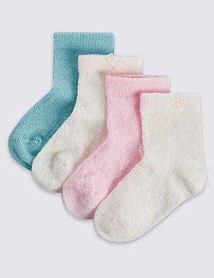 4 pares de calcetines variados de algodón con corazones con StaySoft™ (0-24 meses), MEZCLA DE TONOS CREMA, catlanding