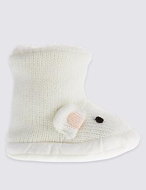 Freshfeet™ Polar Bear Moccasin Socks with Silver Technology, WHITE MIX, catlanding