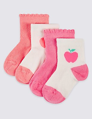 4 Pairs of Cotton Rich Socks (0-24 Months), NEON PINK, catlanding
