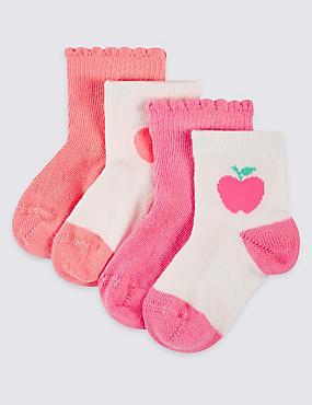 Lot de 4paires chaussettes en coton (jusqu'au 2ans), ROSE FLUO, catlanding