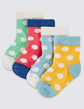 Lot de 4paires de chaussettes à pois (jusqu'au 2ans), BLANC HIVERNAL, catlanding