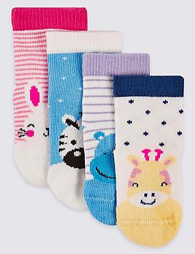4 paar sokken met grappige dessins (0-24 maanden), WINTERWIT, catlanding