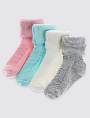 4 Pairs of StaySoft™ Socks (0-24 Months), PINK, catlanding