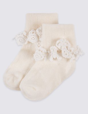 2 Pairs of StaySoft™ Socks (0-3 Years), SOFT WHITE, catlanding