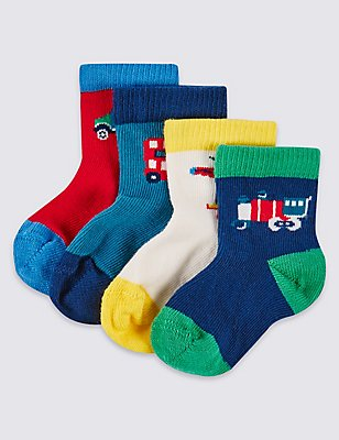 4 Pairs of Assorted Socks (0-24 Months), TOMATO, catlanding