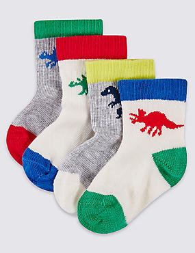 Lot de 4paires de chaussettes imprimées (jusqu'au 2ans), BLANC HIVERNAL, catlanding