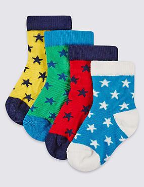 Lot de 4paires de chaussettes à imprimé étoiles (jusqu'au 2ans), BLEU FONCÉ, catlanding