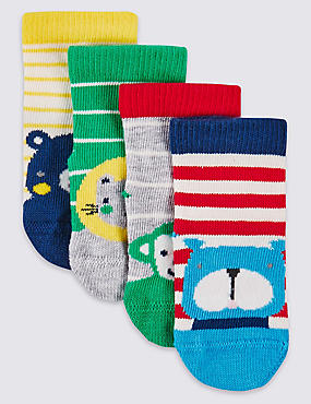 4 Paar Socken mit ausgefallenem Muster (0–24 Monate), WEICHES BLAU, catlanding