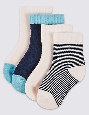 4 Pairs of StaySoft™ Socks (0-12 Months), SKY BLUE, catlanding