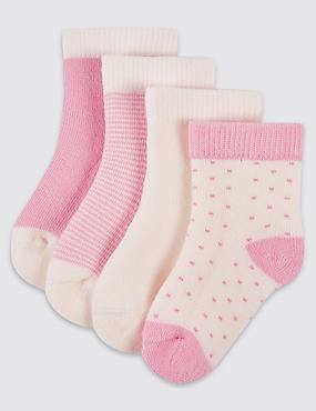 Lot de 4paires de chaussettes à motif lapins (jusqu'au 12mois), ROSE DOUX, catlanding