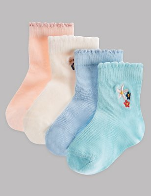 4 Pairs of Cotton Rich Socks (0-24 Months), LIGHT BLUE MIX, catlanding