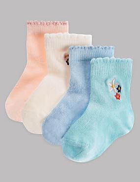 4 Pairs of Cotton Rich Socks (0-24 Months), LIGHT BLUE MIX, catlanding