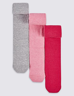 3 Pairs of Cotton Rich Freshfeet™ Tights (18 Months - 8 Years), PINK MIX, catlanding