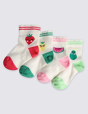 4 Pairs of Cotton Rich Socks (0-24 Months), WHITE MIX, catlanding