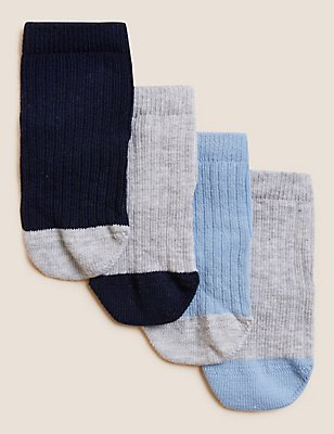 4 Pack of Cotton Rich Socks with StaySoft™ (0-24 Months), WHITE MIX, catlanding