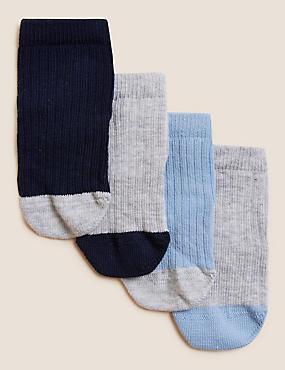 4 Paar Socken mit hohem Baumwollanteil und StaySoft™ (0–24 Jahre), WEISS MELANGE, catlanding