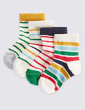 4 Pairs of Cotton Rich Striped Socks (0-24 Months), MULTI, catlanding