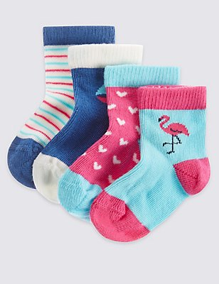 4 Pack of Cotton Rich Socks with StaySoft™ (0-24 Months), LIGHT BLUE MIX, catlanding
