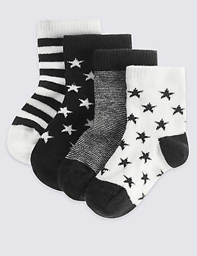 4 Pack of Cotton Rich Socks with StaySoft™ (0-24 Months), BLACK/WHITE, catlanding