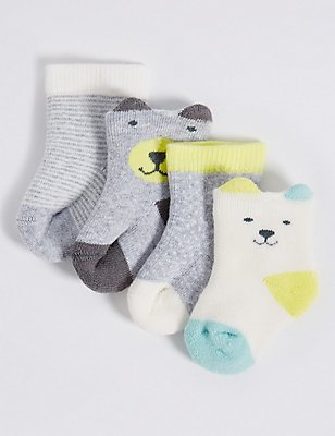 4 Pairs of Cotton Rich Socks with StaySoft™ (0-12 Months), GREY MIX, catlanding