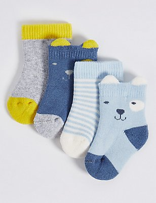 4 Pairs of Cotton Rich Socks with StaySoft™ (0-12 Months), DENIM MIX, catlanding
