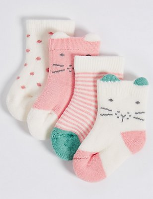 4 Pairs of Cotton Rich Socks with StaySoft™ (0-12 Months), LIGHT PINK MIX, catlanding