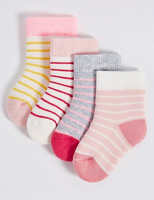 4 Pairs of Cotton Rich StaySoft™ Socks (0-24 Months), SOFT PINK, catlanding
