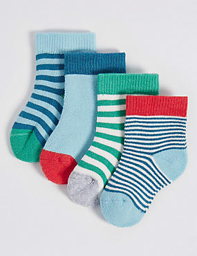 4 Pairs of Cotton Rich Socks with StaySoft™ (0-24 Months), NAVY MIX, catlanding
