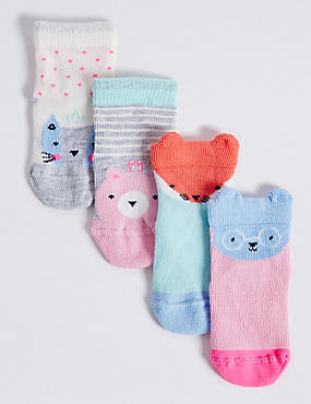 4 Pairs of Cotton Rich Novelty Socks (0-24 Months), PINK, catlanding