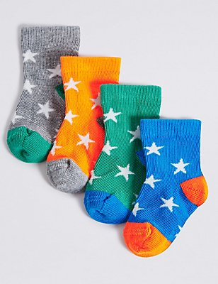 4 Pairs of Star Print Socks (0-24 Months), RED, catlanding