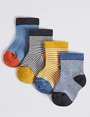 4 Pairs of Cotton Rich Striped Socks (0-24 Months), DENIM MIX, catlanding