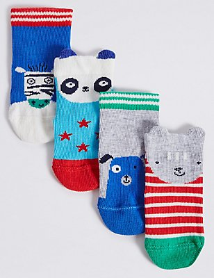 4 Pairs of Cotton Rich Novelty Socks (0-24 Months), BLUE, catlanding