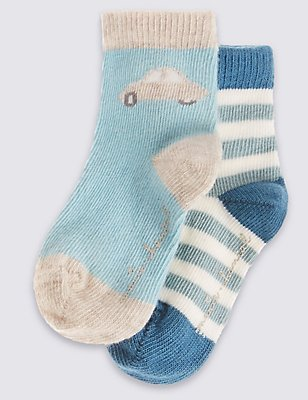 2 Pairs of Cotton Rich Socks (0-24 Months), DUSTY GREEN, catlanding