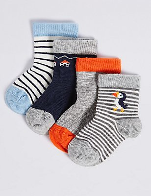 4 Pairs of Cotton Rich Socks (0-24 Months), GREY MIX, catlanding