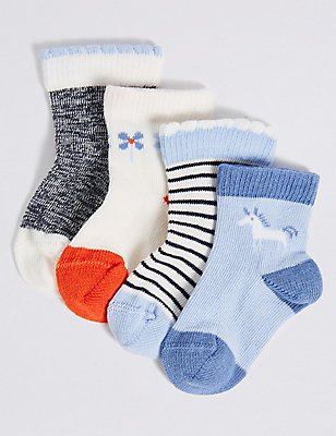 4 Pairs of Cotton Rich StaySoft™ Assorted Socks (0-24 Months), BLUE MIX, catlanding