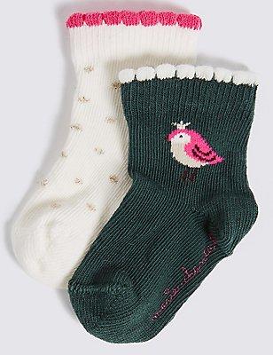 Lot de 2paires de chaussettes en coton (du 0 au 6ans), BLANC ASSORTI, catlanding