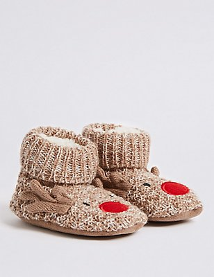 Reindeer Slipper Booties (0-24 Months), BROWN MIX, catlanding