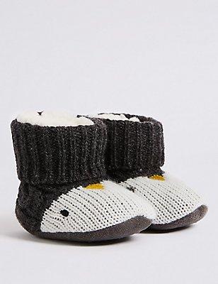 Slipper-Stiefelchen mit Pinguinmotiv (0–24 Monate), MITTELGRAU, catlanding