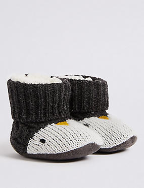 Penguin Slipper Booties (0-24 Months), MID GREY, catlanding