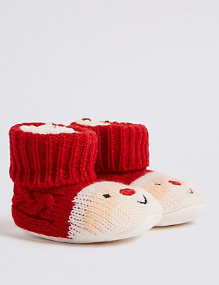 Santa Slipper Booties (0-24 Months), RED, catlanding