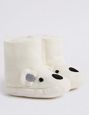Polar Bear Slipper Booties (0-24 Months), WINTER WHITE, catlanding