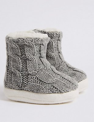 Moccasin Slipper Booties (0-24 Months), GREY MARL, catlanding